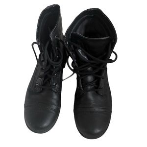 Skechers lace up black booties Size 7.5